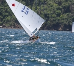 Geo getting a roll on downwind! She stayed dry..... this time!