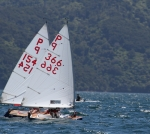 Ben in P Class 366 had an awesome battle with Aylwen on the final beat, and just edged them to finish second in the P Class South Island Championships