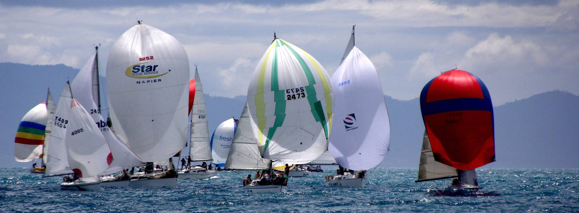 Yachts from the Tasman Bay Cruising Club with spinnakers up!